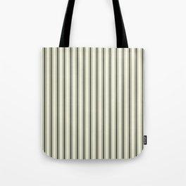 Mattress Ticking Wide Striped Pattern in Dark Black and Beige Tote Bag