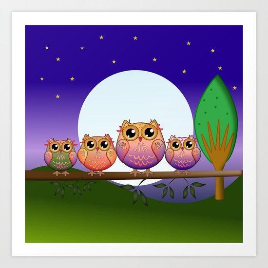 Cute Full Moon Owls on a branch Art Print