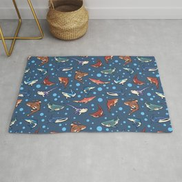 Sharks in the dark blue Rug