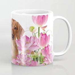 Dog in Field of Lotos Flower Coffee Mug