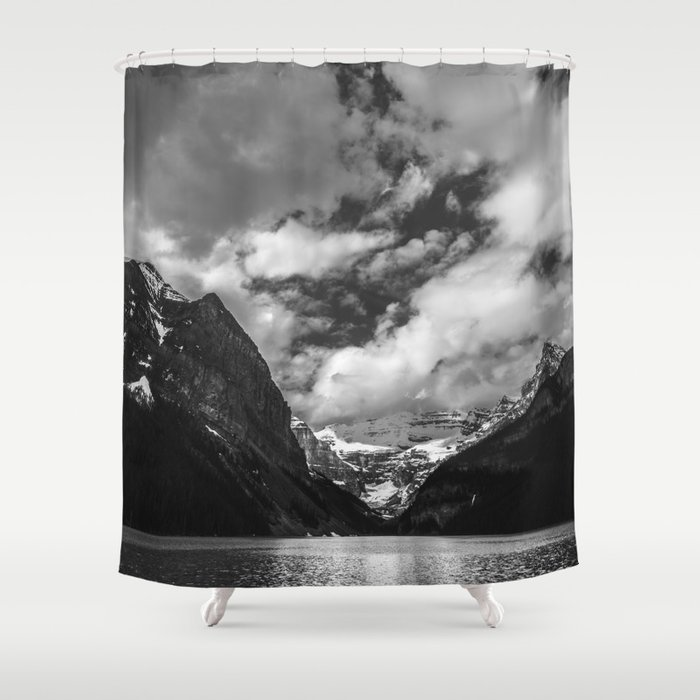 Lake Louise Black and White Minimalism Photography   Black and White   Photography Shower Curtain