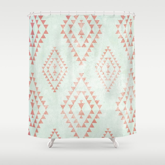 Mint Coral Tribal Pattern Shower Curtain By Daniellebourland