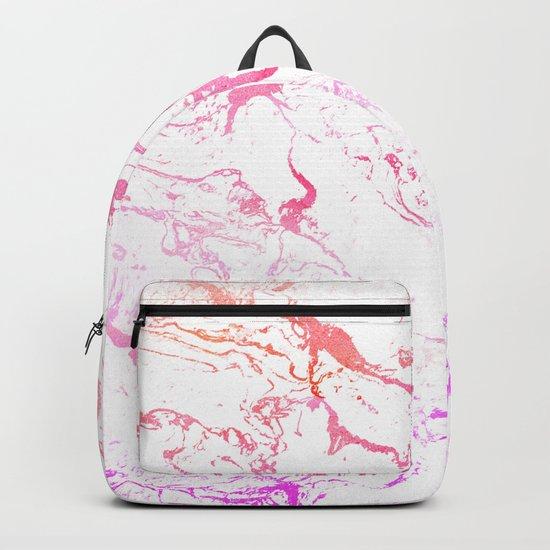 Modern pink purple watercolor white marble pattern Backpack
