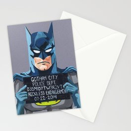 Bat Man Superhero Mug Shot Stationery Cards