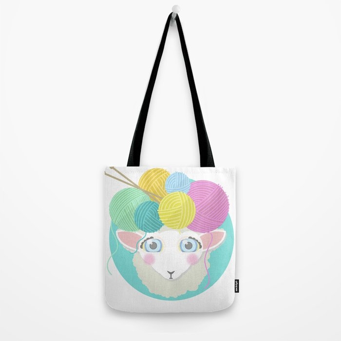 Sheepy Yarn Head Tote Bag