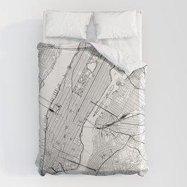 New York City White Map Bettbezug