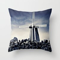 regina mills Throw Pillows featuring The Mills by Vibrancyphotos