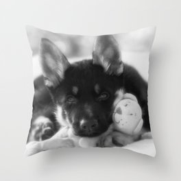 Black white portrait of a shepherd puppy. Throw Pillow