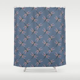 Crazy colorful dragonfly pattern on navy background Shower Curtain