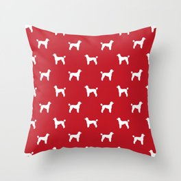 Poodle silhouette red and white minimal modern dog art pet portrait dog breeds Throw Pillow