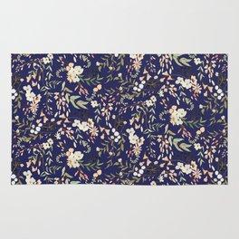 Dark Intricate Floral Pattern Rug