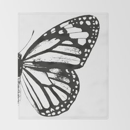 Monarch Butterfly | Right Butterfly Wing | Vintage Butterflies | Black and White | Throw Blanket
