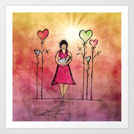 Mother and Child Fine Art Print, Nursery Room, Pink, Mom and Baby Art Print