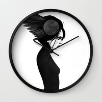 amy hamilton Wall Clocks featuring Amy by Ruben Ireland
