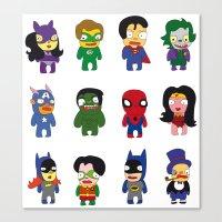 superheroes Canvas Prints featuring superheroes by Manola  Argento