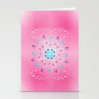 music notes Stationery Cards featuring Music Notes In Pink by HK Chik