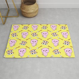 Cute funny Kawaii chibi little pink baby kittens, happy sweet cheerful sushi with shrimp on top, rice balls and chopsticks pastel bright sunny yellow pattern design. Rug