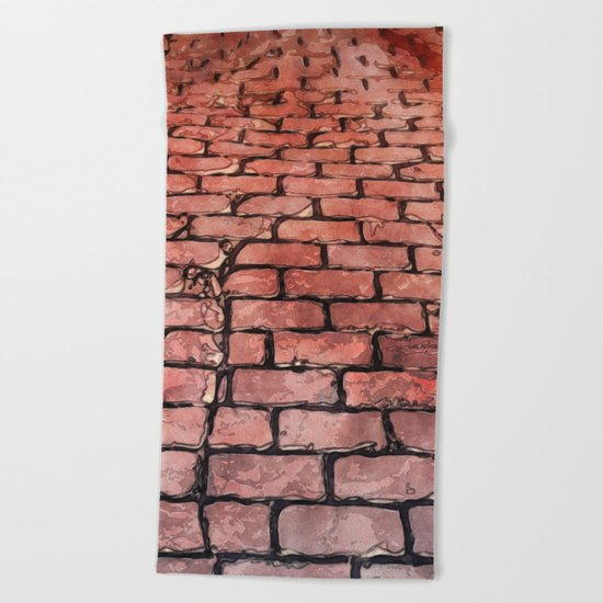 Vintage Brick Street Beach Towel