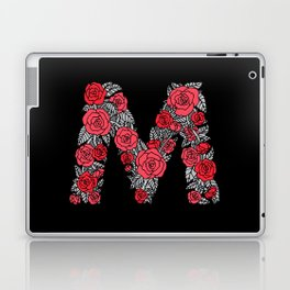 Floral Type - Letter M - Black and Blush Laptop & iPad Skin