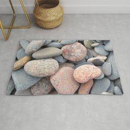 Watercolor Rock, Pebbles 05, Cape Breton, Nova Scotia, Canada, No Worries Here Rug