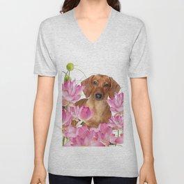 Dog in Field of Lotos Flower Unisex V-Neck