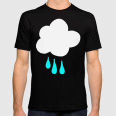 Rain Cloud Pattern MEDIUM Black Mens Fitted Tee