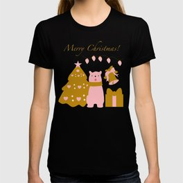 cute Christmas bear and winter elements T-shirt