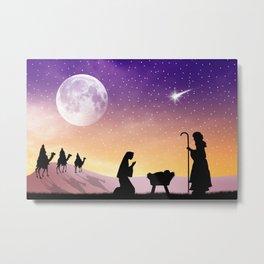 Holiday Christmas The Three Wise Men Moon Jesus Ma Metal Print