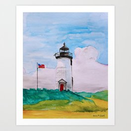 Cape Poge Lighthouse, Martha's Vineyard watercolor Art Print