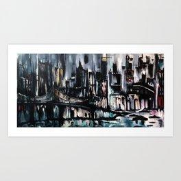 City Scape at Dusk Art Print
