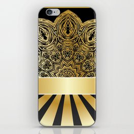 Background with golden floral iPhone Skin