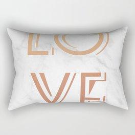 Art Deco Love Rose Gold Marble Tyrpography Print Rectangular Pillow