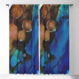Brown Blue Abstract Blackout Curtain