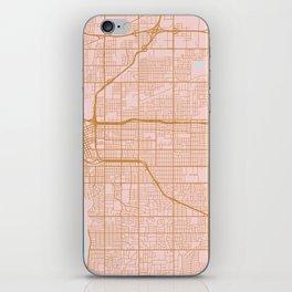 Pink and gold Tulsa map iPhone Skin