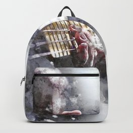 Person Playing Electric Bass Guitar in watercolor style Backpack