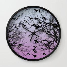 Crow flock Wall Clock