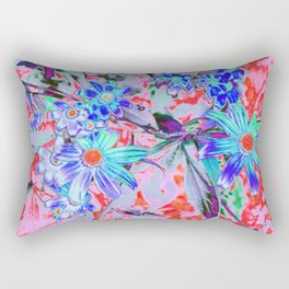Retro Psychedelic Aqua Green and Orange Flowers Rectangular Pillow