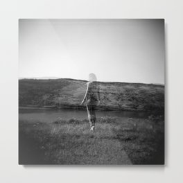 Ghost Girl on the Cliff's Edge - Black and White Film Double Exposure Metal Print