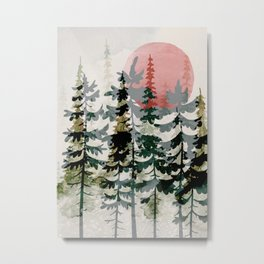 Forest Trees and Red Sun Metal Print