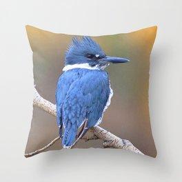 Watercolor Bird, Kingfisher 01, Estes Park, Colorado, Autumn Stunner Throw Pillow