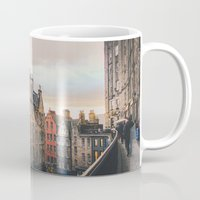edinburgh Mugs featuring Edinburgh Sunset by Carrie Baker