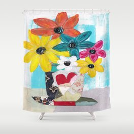 PATCHWORK VASE Shower Curtain