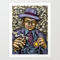 gangster Art Prints featuring Gangster by pounders ink