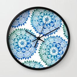 Blue Bohemian Mandala Pattern Wall Clock