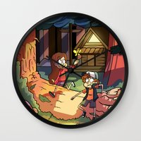 gravity falls Wall Clocks featuring Gravity Falls by Izzy