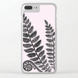Black Lace Fern Blush Pink Clear iPhone Case