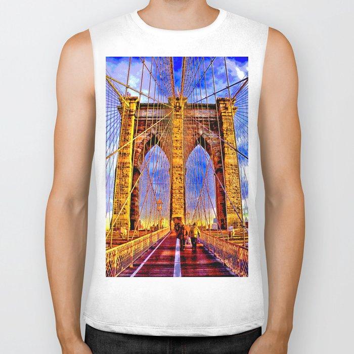 Brooklyn bridge NY Biker Tank