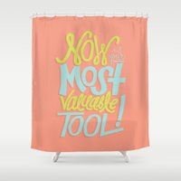 tool Shower Curtains featuring Now Is Your Most Valuable Tool by Eliza Hack