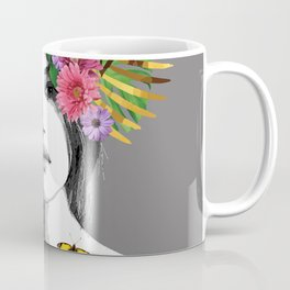 Woman Flowers Macaw Butterfly - Graphic Illustration Coffee Mug