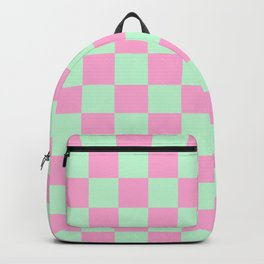Mint Green and Pink Check - bed and bath Backpack